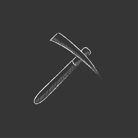 mattock: Pickax. Hand drawn in chalk vector isolated icon for web, mobile and infographics.