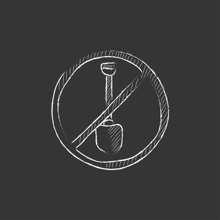 hand shovels: Shovel forbidden sign. Hand drawn in chalk vector isolated icon for web, mobile and infographics.