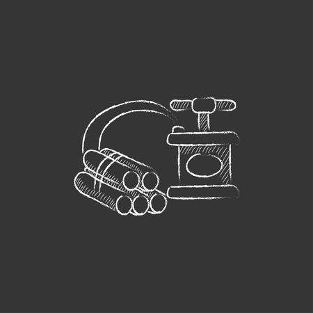 ignited: Dynamite and detonator. Hand drawn in chalk vector isolated icon for web, mobile and infographics. Illustration