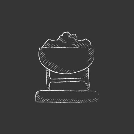 underpass: Mine trolley full of coal. Hand drawn in chalk vector isolated icon for web, mobile and infographics.