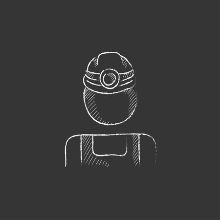coal miner: Coal miner. Hand drawn in chalk vector isolated icon for web, mobile and infographics.