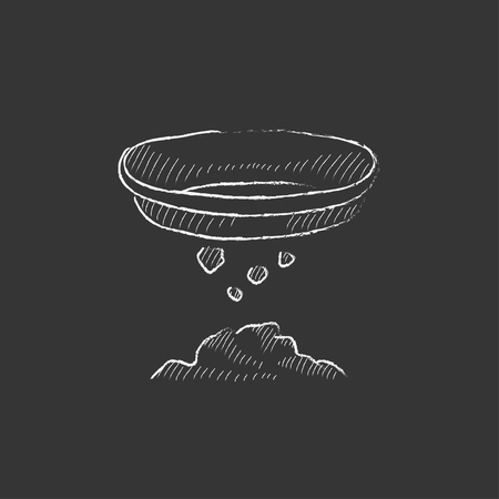 sifting: Bowl for sifting gold. Hand drawn in chalk vector isolated icon for web, mobile and infographics.
