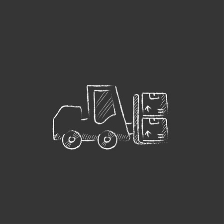 フォーク リフトの輸送ボックス。インフォ グラフィック、モバイル web のチョーク ベクトル分離アイコンで描画手。
