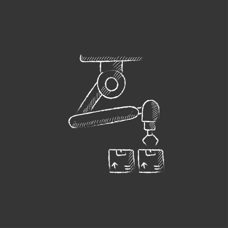 Robotic packaging. Hand drawn in chalk vector isolated icon for web, mobile and infographics.