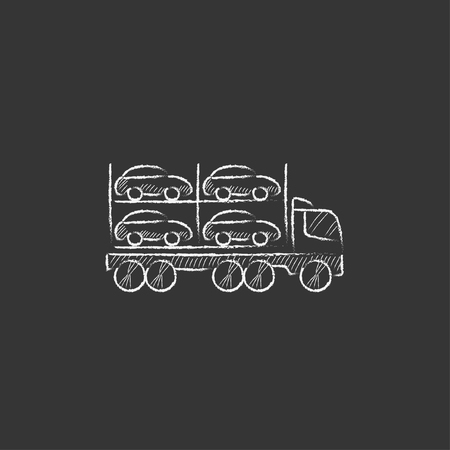 Car carrier. Hand drawn in chalk vector isolated icon for web, mobile and infographics.