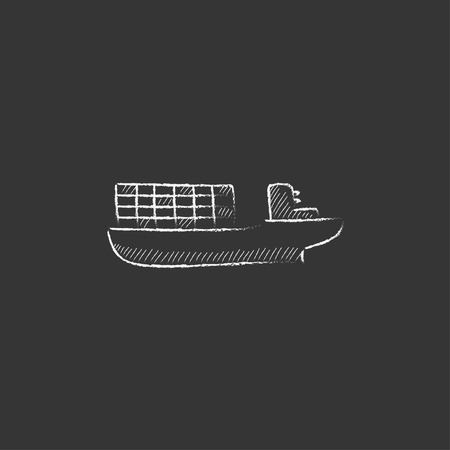 navy pier: Cargo container ship. Hand drawn in chalk vector isolated icon for web, mobile and infographics.