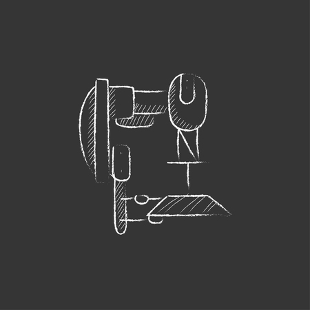automated: Industrial automated robot. Hand drawn in chalk vector isolated icon for web, mobile and infographics.