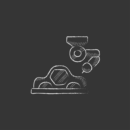 automated: Automated assembly line for cars. Hand drawn in chalk vector isolated icon for web, mobile and infographics.