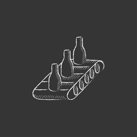 conveyor system: Bottles on conveyor belt system. Hand drawn in chalk vector isolated icon for web, mobile and infographics. Illustration