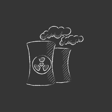 ecological damage: Nuclear power plant. Hand drawn in chalk vector isolated icon for web, mobile and infographics.