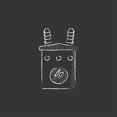 transformer: High voltage transformer. Hand drawn in chalk vector isolated icon for web, mobile and infographics. Illustration