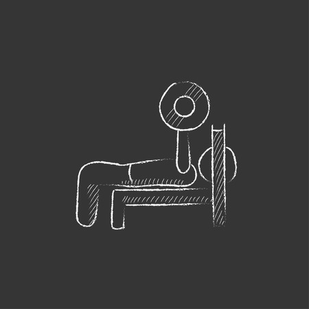 Man lying on bench and lifting barbell. Hand drawn in chalk vector isolated icon for web, mobile and infographics.