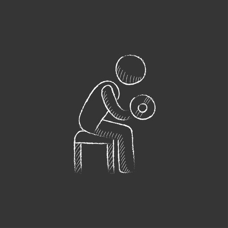 hand with dumbbells: Man exercising with dumbbells. Hand drawn in chalk vector isolated icon for web, mobile and infographics. Illustration