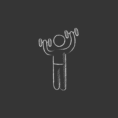 Man exercising with dumbbells. Hand drawn in chalk vector isolated icon for web, mobile and infographics. Ilustrace