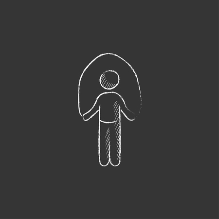Man exercising with skipping rope. Hand drawn in chalk vector isolated icon for web, mobile and infographics.