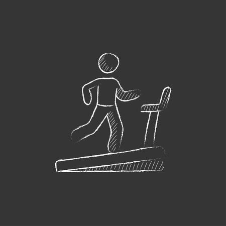 Man running on a treadmill. Hand drawn in chalk vector isolated icon for web, mobile and infographics.