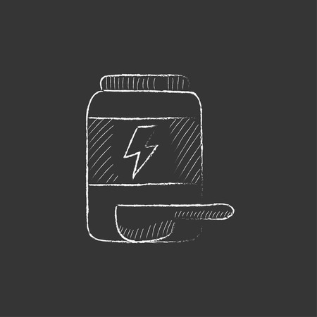 supplementation: Sport nutrition container. Hand drawn in chalk vector isolated icon for web, mobile and infographics. Illustration