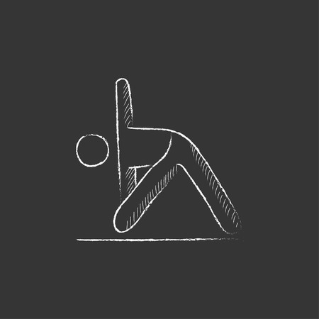 man meditating: A man meditating in triangle pose. Hand drawn in chalk vector isolated icon for web, mobile and infographics. Illustration