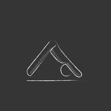 A man standing in yoga downward facing dog pose. Hand drawn in chalk vector isolated icon for web, mobile and infographics.