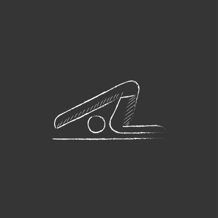 A man practicing yoga plough pose. Hand drawn in chalk vector isolated icon for web, mobile and infographics. Ilustração