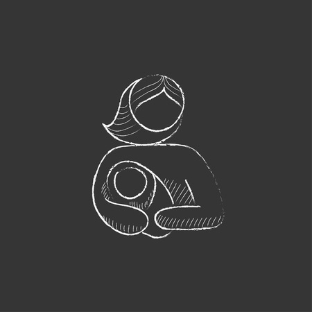 obstetrician: Woman holding the baby. Hand drawn in chalk vector isolated icon for web, mobile and infographics.
