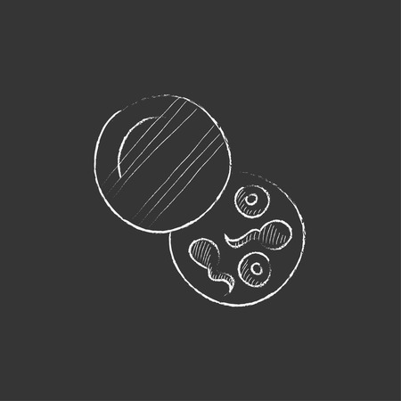 fertilisation: Donor sperm. Hand drawn in chalk vector isolated icon for web, mobile and infographics. Illustration