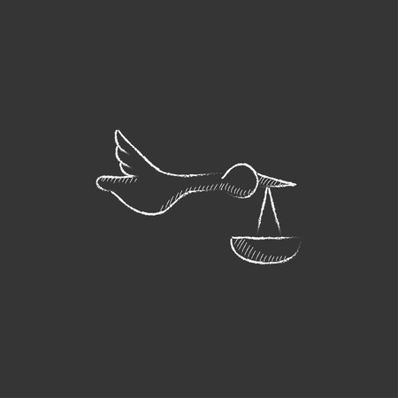 stork delivering a baby: Baby basket with stork. Hand drawn in chalk vector isolated icon for web, mobile and infographics.