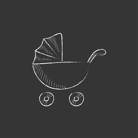 Poussette de bébé. Hand drawn dans le vecteur de craie icône isolé pour le web, mobile et infographies.