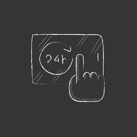 infographics touchscreen: Finger touching 24 hours service button on a touchscreen. Hand drawn in chalk vector isolated icon for web, mobile and infographics. Illustration