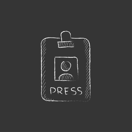 Press pass ID card. Hand drawn in chalk vector isolated icon for web, mobile and infographics.