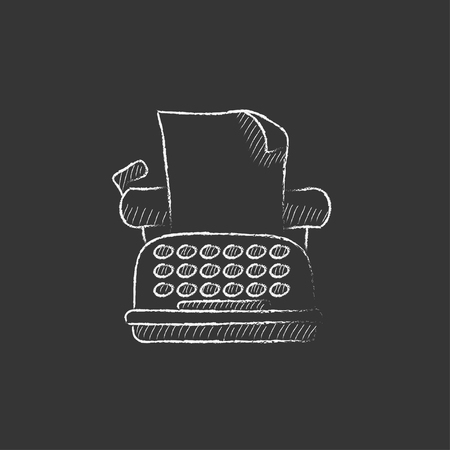 typewriting machine: Typewriter. Hand drawn in chalk vector isolated icon for web, mobile and infographics.