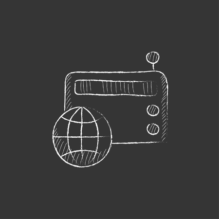 globe hand: Retro radio with globe. Hand drawn in chalk vector isolated icon for web, mobile and infographics. Illustration