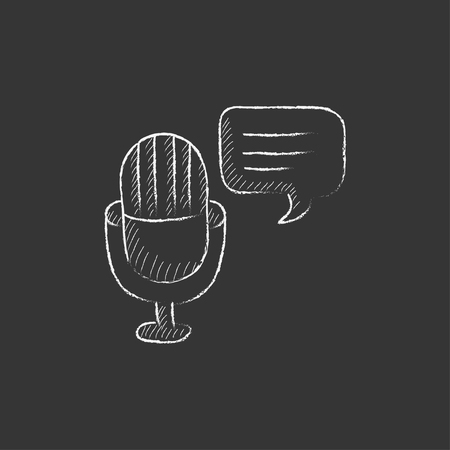 Microphone with speech square. Hand drawn in chalk vector isolated icon for web, mobile and infographics.