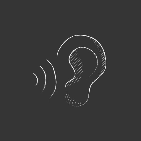 earing: Ear and sound waves. Hand drawn in chalk vector isolated icon for web, mobile and infographics.