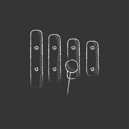 Xylophone with mallet. Hand drawn in chalk vector isolated icon for web, mobile and infographics. Illusztráció
