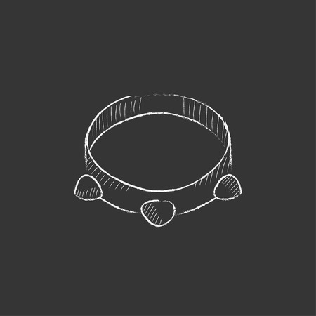 Tambourine. Hand drawn in chalk vector isolated icon for web, mobile and infographics.