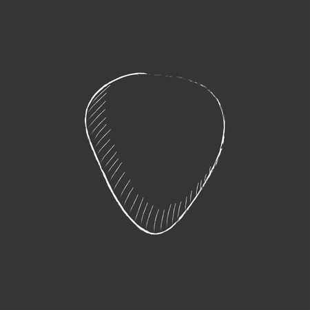 guitar pick: Guitar pick. Hand drawn in chalk vector isolated icon for web, mobile and infographics.
