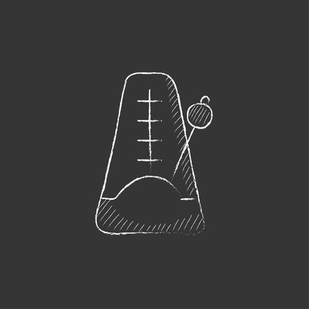 metronome: Metronome. Hand drawn in chalk vector isolated icon for web, mobile and infographics. Illustration