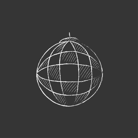 mirrorball: Disco ball. Hand drawn in chalk vector isolated icon for web, mobile and infographics.