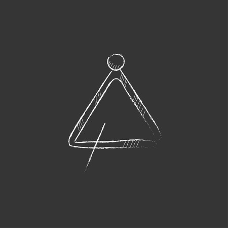 Triangle. Hand drawn in chalk vector isolated icon for web, mobile and infographics. Illustration