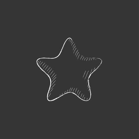 Rating star. Hand drawn in chalk vector isolated icon for web, mobile and infographics.