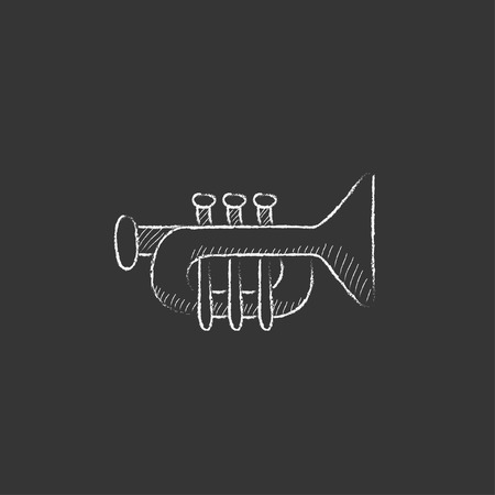 orchestral: Trumpet. Hand drawn in chalk vector isolated icon for web, mobile and infographics.