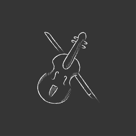 fiddlestick: Violin with bow. Hand drawn in chalk vector isolated icon for web, mobile and infographics. Illustration