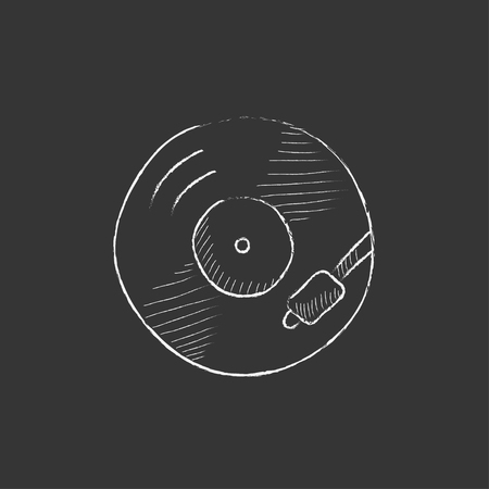 soundtrack: Turntable. Hand drawn in chalk vector isolated icon for web, mobile and infographics. Illustration