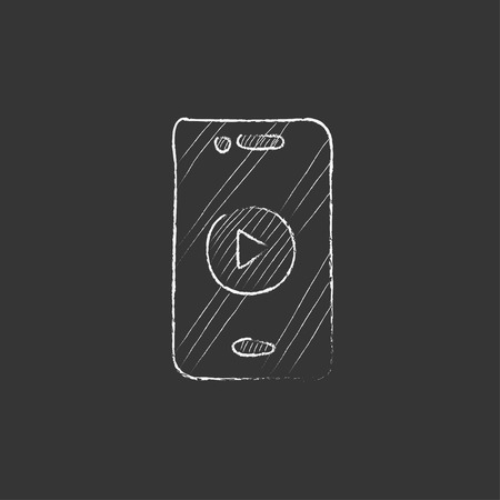 device: Smartphone with play button on a screen. Hand drawn in chalk vector isolated icon for web, mobile and infographics. Illustration
