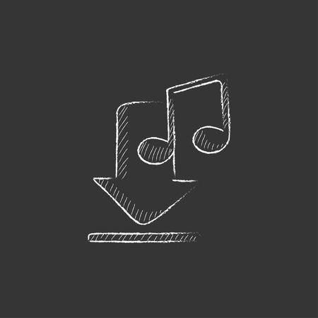 webshop: Download music. Hand drawn in chalk vector isolated icon for web, mobile and infographics.