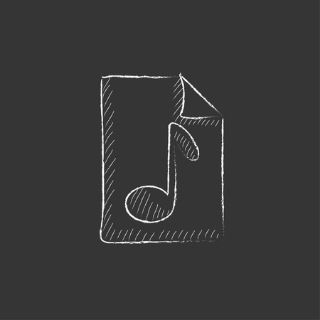 chords: Musical note drawn on a sheet. Hand drawn in chalk vector isolated icon for web, mobile and infographics.