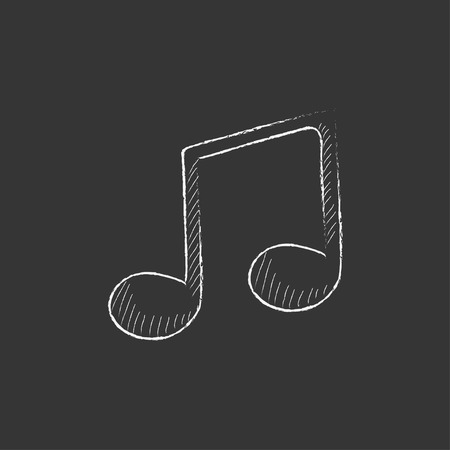 crotchets: Music note. Hand drawn in chalk vector isolated icon for web, mobile and infographics.