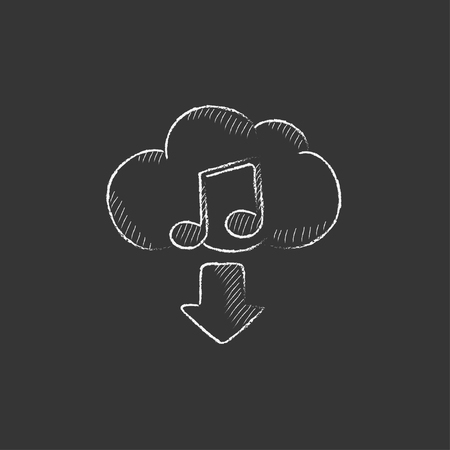 Download music. Hand drawn in chalk vector isolated icon for web, mobile and infographics.