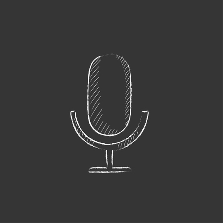Retro microphone. Hand drawn in chalk vector isolated icon for web, mobile and infographics.